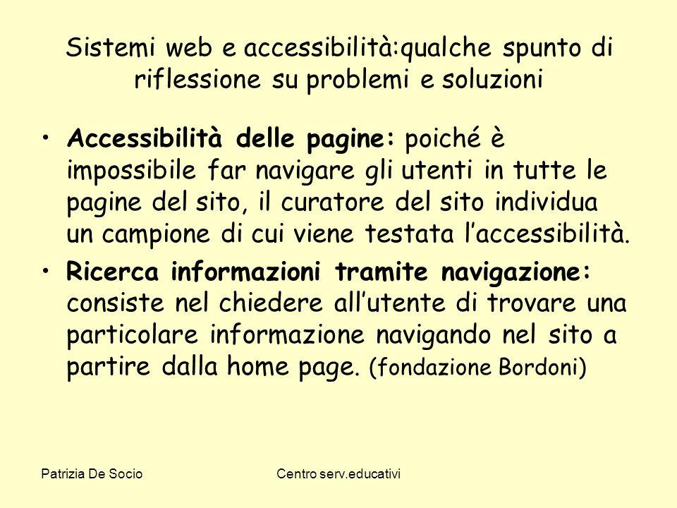 Sistemi web e accessibilità:qualche spunto di riflessione su problemi e soluzioni
