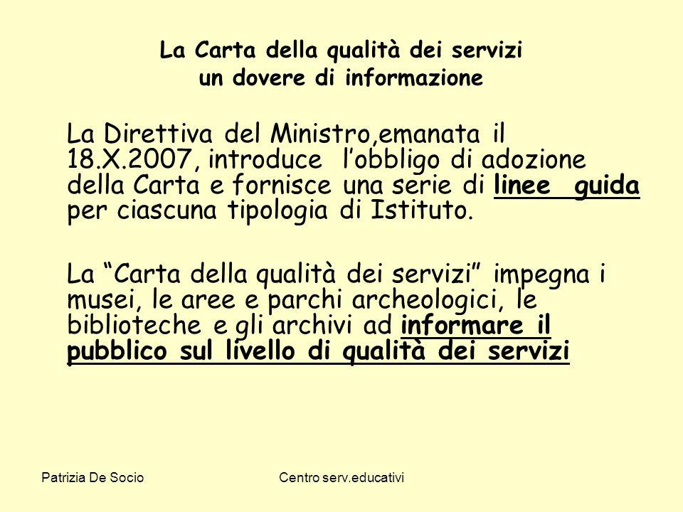 La Carta della qualità dei servizi un dovere di informazione