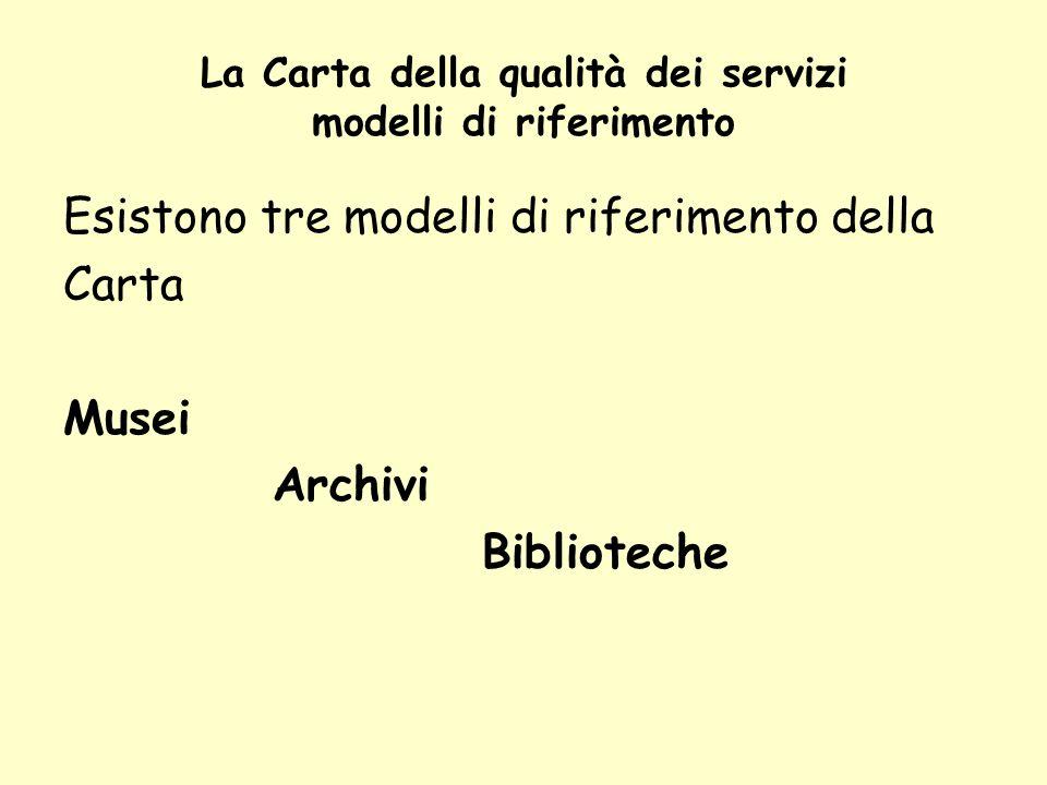 La Carta della qualità dei servizi modelli di riferimento