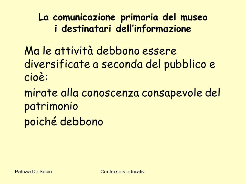 La comunicazione primaria del museo i destinatari dell'informazione