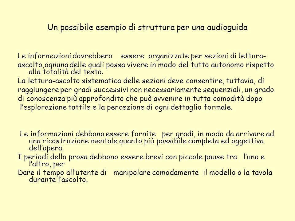 Un possibile esempio di struttura per una audioguida