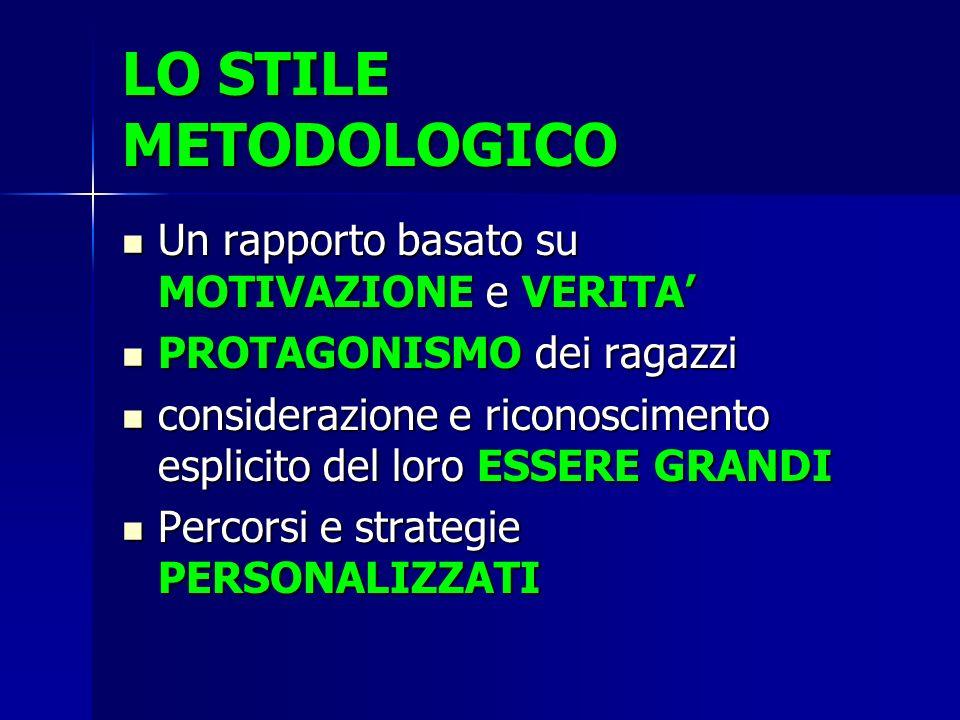 LO STILE METODOLOGICO Un rapporto basato su MOTIVAZIONE e VERITA'