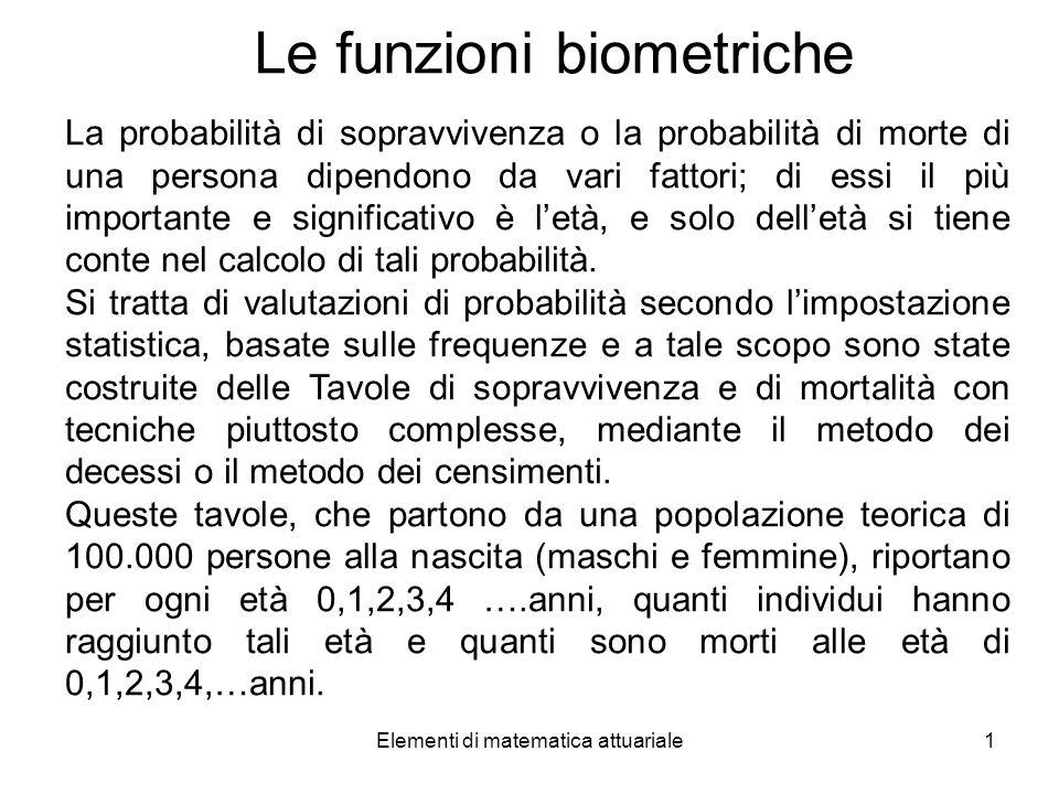 Le funzioni biometriche