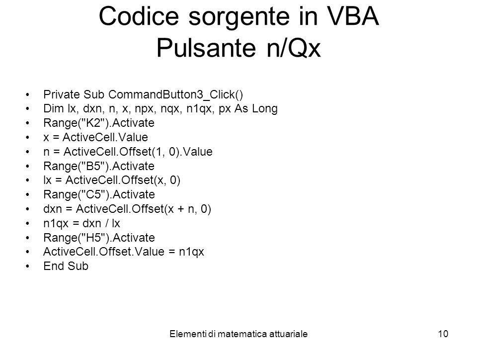 Codice sorgente in VBA Pulsante n/Qx