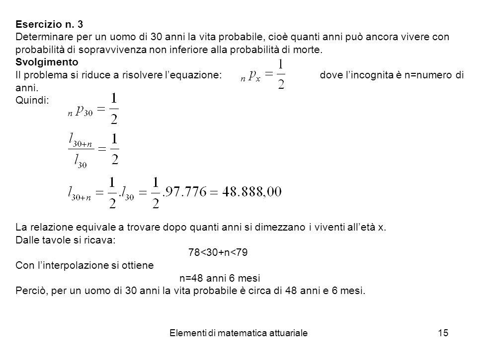 Elementi di matematica attuariale