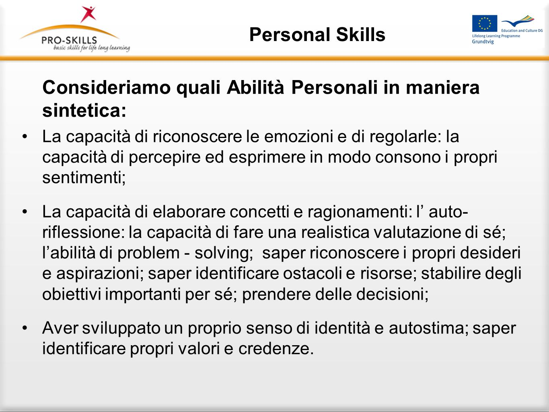 Personal Skills Perché è importante promuovere le Abilità Personali con le persone a rischio di vulnerabilità e svantaggio sociale