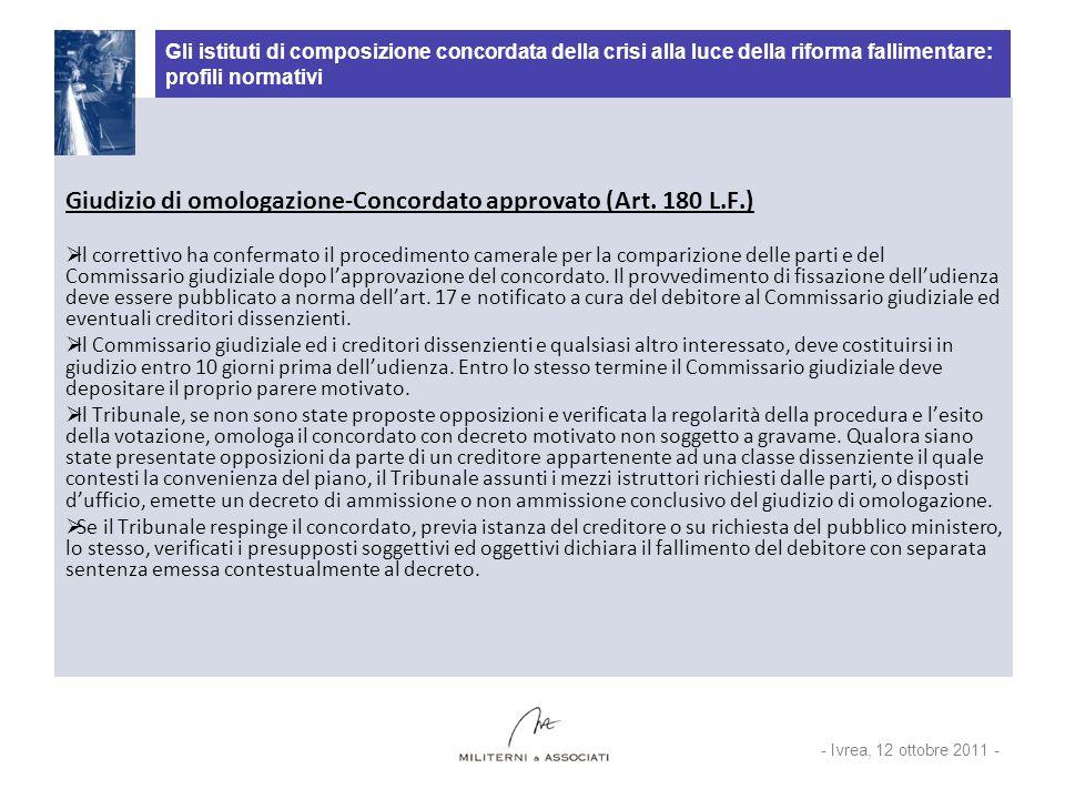 Giudizio di omologazione-Concordato approvato (Art. 180 L.F.)