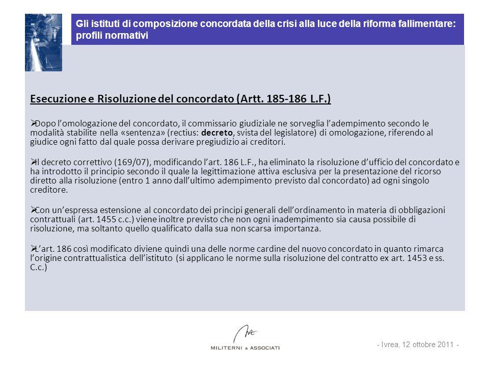 Esecuzione e Risoluzione del concordato (Artt. 185-186 L.F.)