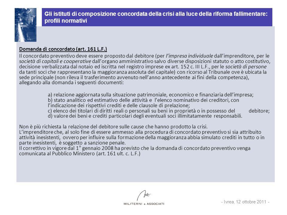 Domanda di concordato (art. 161 L.F.)