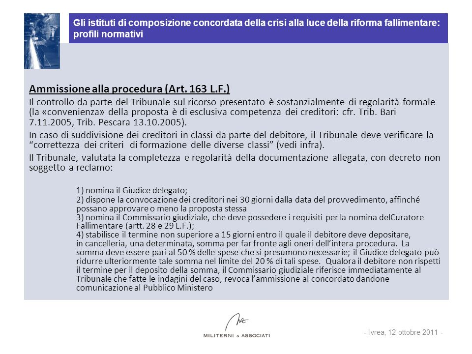 Ammissione alla procedura (Art. 163 L.F.)