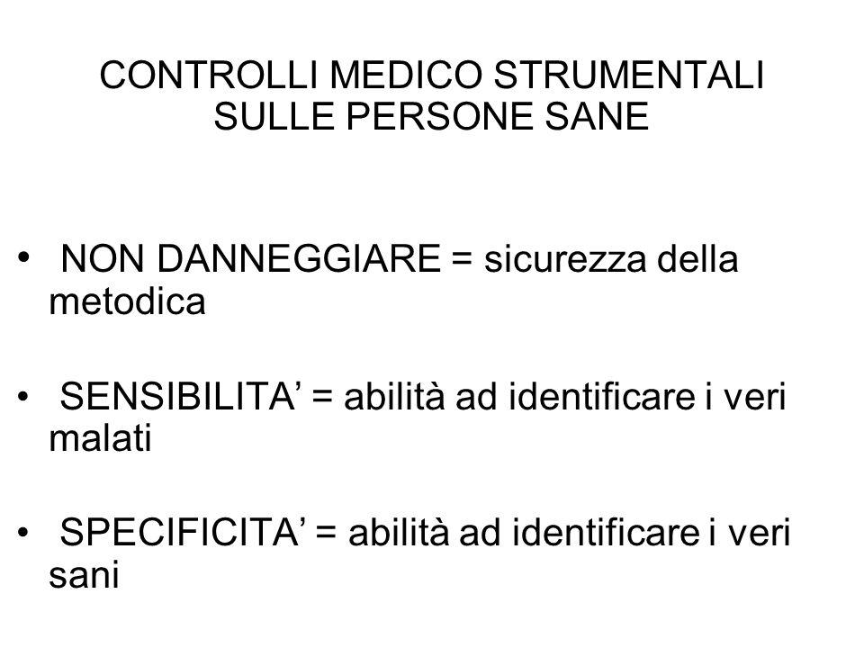 CONTROLLI MEDICO STRUMENTALI SULLE PERSONE SANE