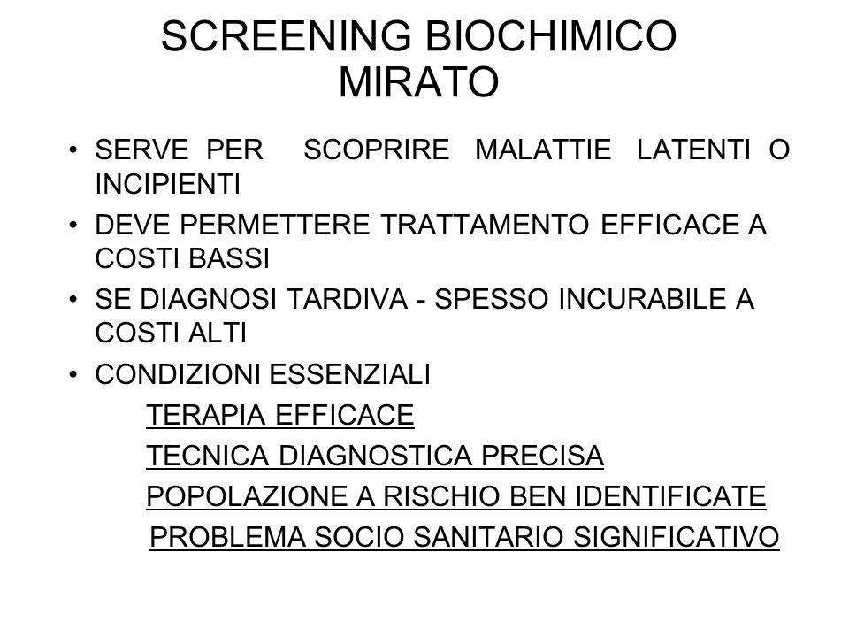 SCREENING BIOCHIMICO MIRATO