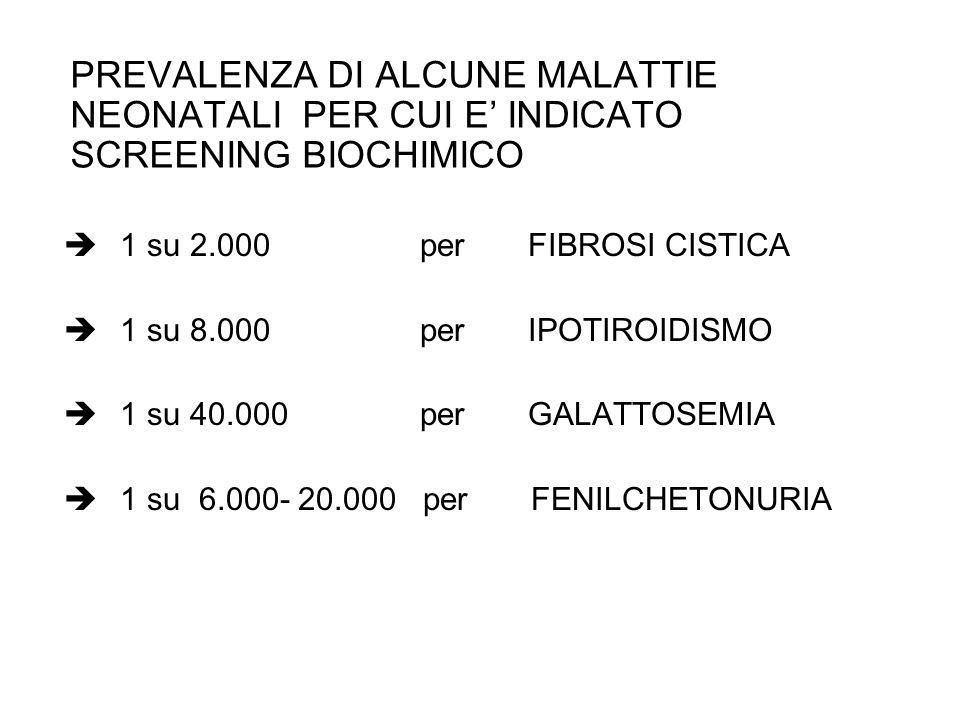 PREVALENZA DI ALCUNE MALATTIE NEONATALI PER CUI E' INDICATO SCREENING BIOCHIMICO