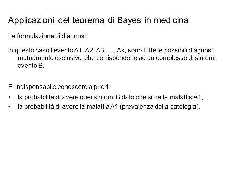 Applicazioni del teorema di Bayes in medicina