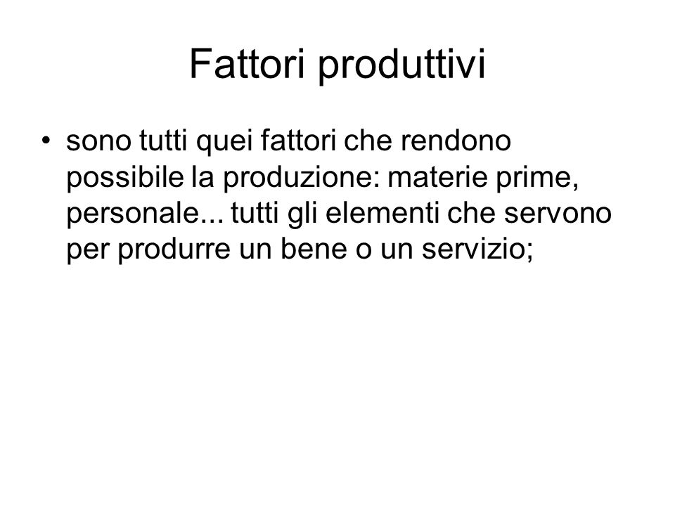 Fattori produttivi