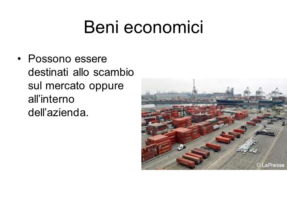 Beni economici Possono essere destinati allo scambio sul mercato oppure all'interno dell'azienda.