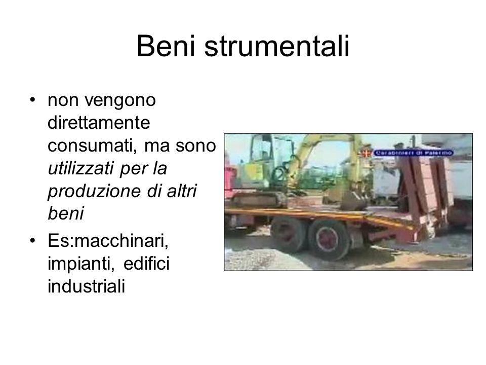 Beni strumentali non vengono direttamente consumati, ma sono utilizzati per la produzione di altri beni.