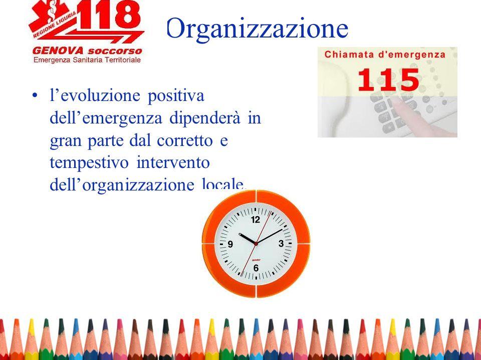 Organizzazionel'evoluzione positiva dell'emergenza dipenderà in gran parte dal corretto e tempestivo intervento dell'organizzazione locale.