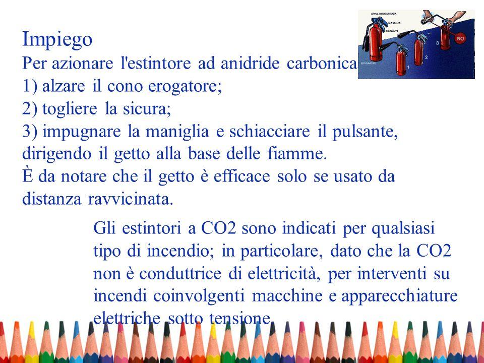 Impiego Per azionare l estintore ad anidride carbonica occorre: