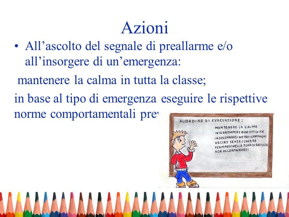 AzioniAll'ascolto del segnale di preallarme e/o all'insorgere di un'emergenza: mantenere la calma in tutta la classe;
