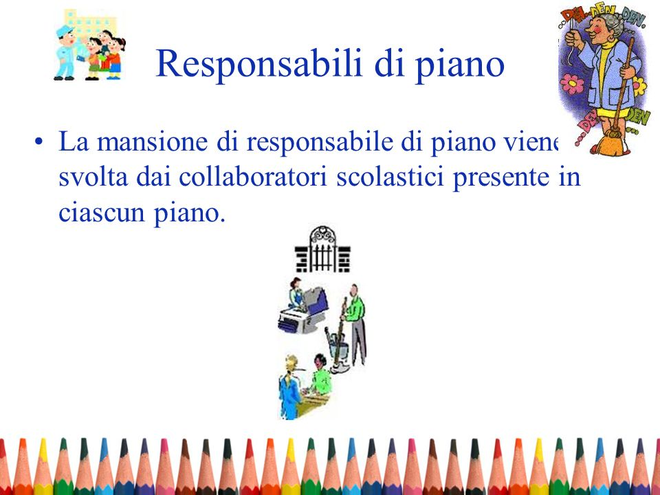 Responsabili di piano La mansione di responsabile di piano viene svolta dai collaboratori scolastici presente in ciascun piano.