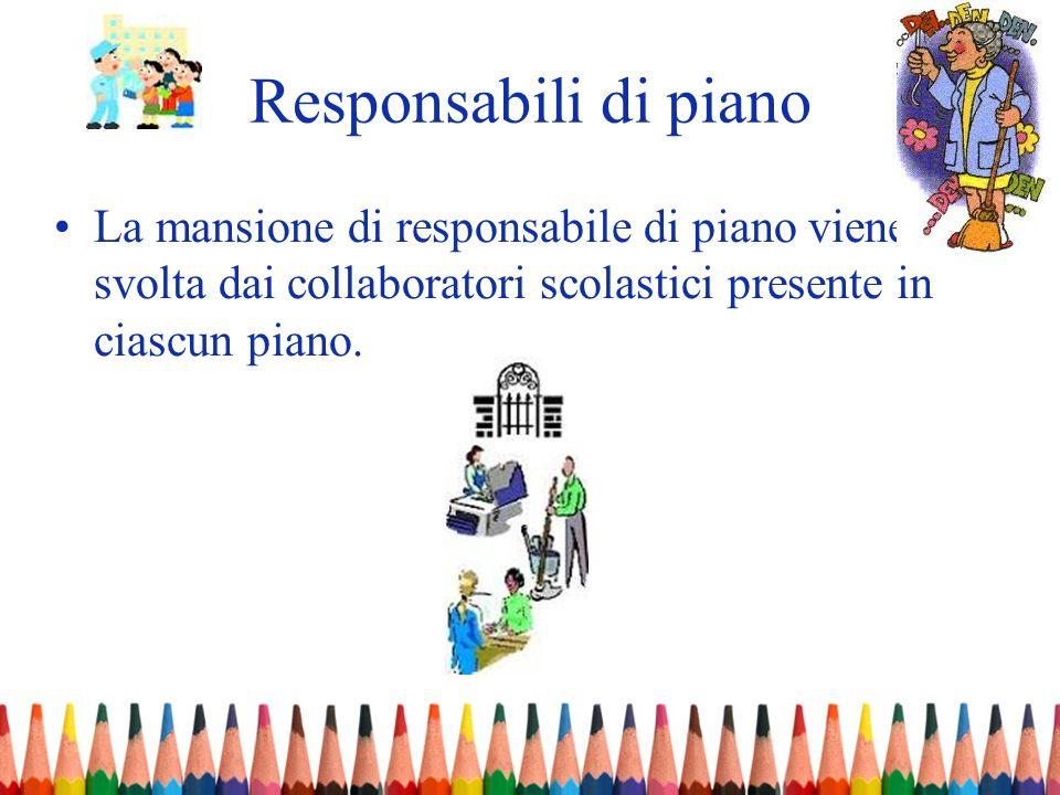 Responsabili di pianoLa mansione di responsabile di piano viene svolta dai collaboratori scolastici presente in ciascun piano.