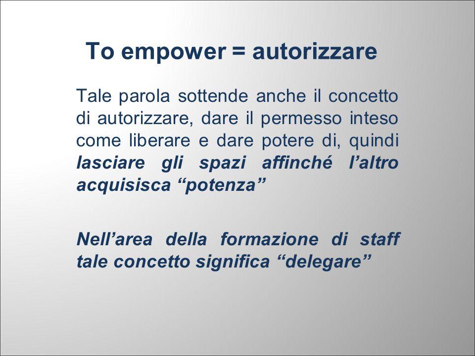 To empower = autorizzare