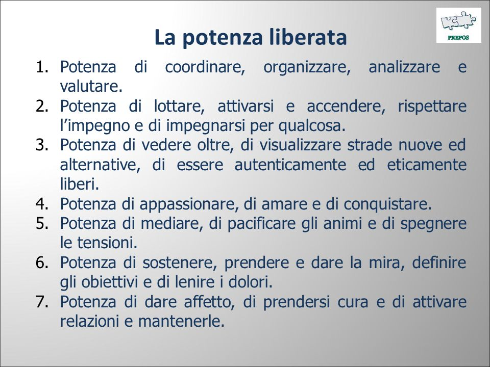 La potenza liberata Potenza di coordinare, organizzare, analizzare e valutare.