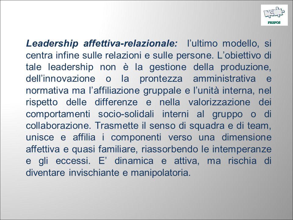 Leadership affettiva-relazionale: l'ultimo modello, si centra infine sulle relazioni e sulle persone.