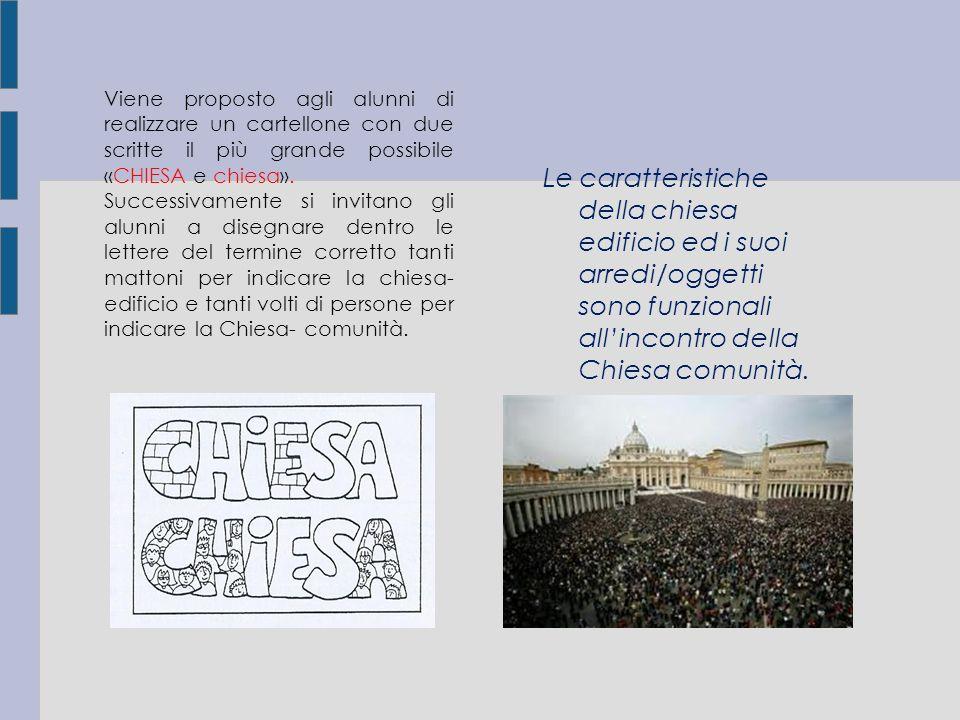 6 Viene proposto agli alunni di realizzare un cartellone con due scritte il più grande possibile «CHIESA e chiesa».