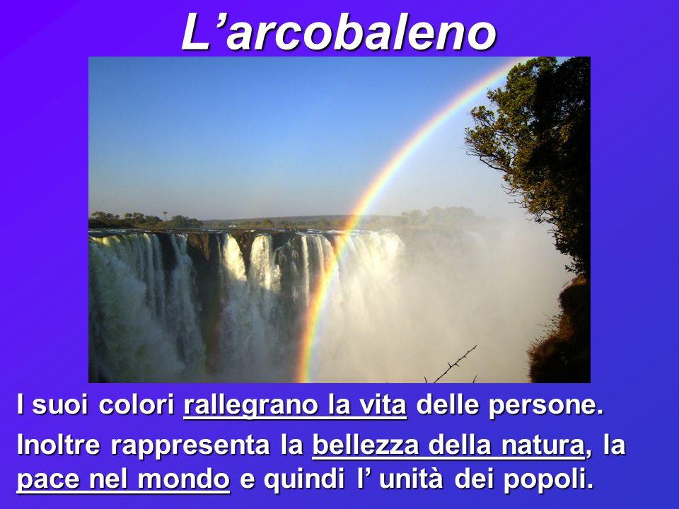 L'arcobaleno I suoi colori rallegrano la vita delle persone.