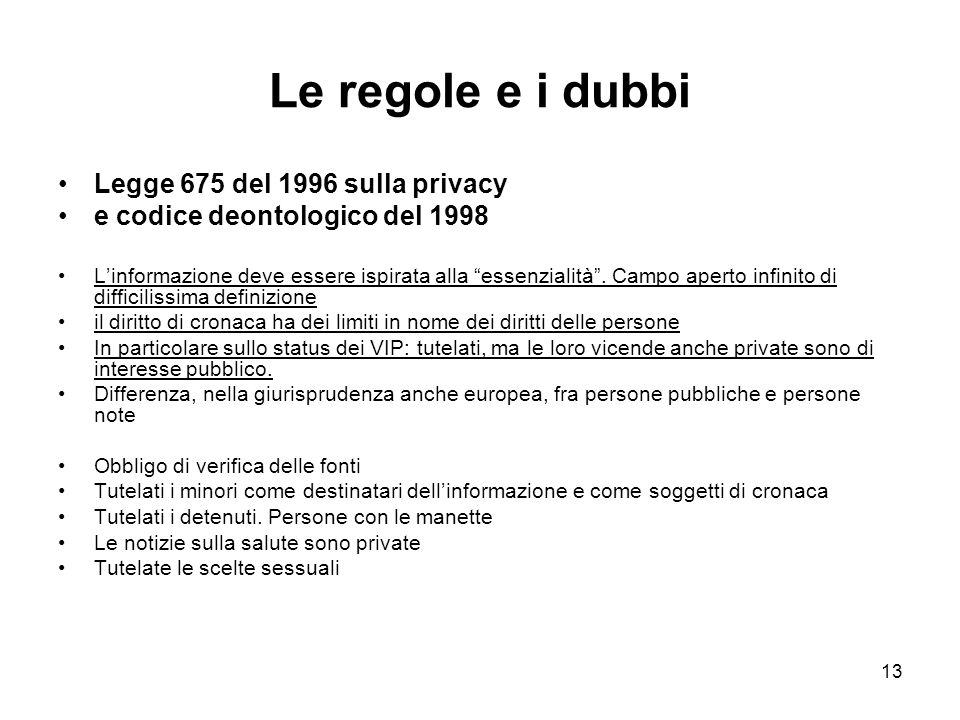 Le regole e i dubbi Legge 675 del 1996 sulla privacy