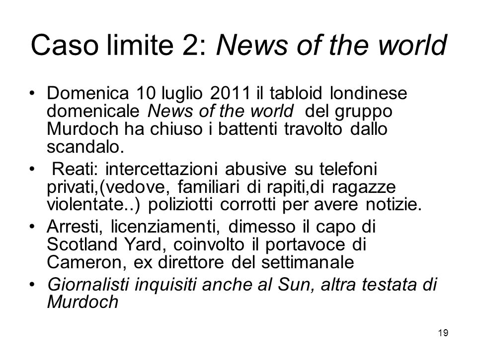 Caso limite 2: News of the world
