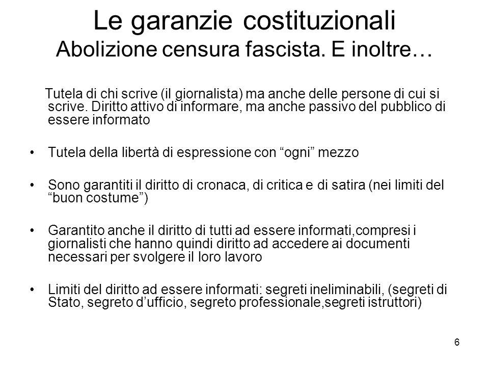 Le garanzie costituzionali Abolizione censura fascista. E inoltre…