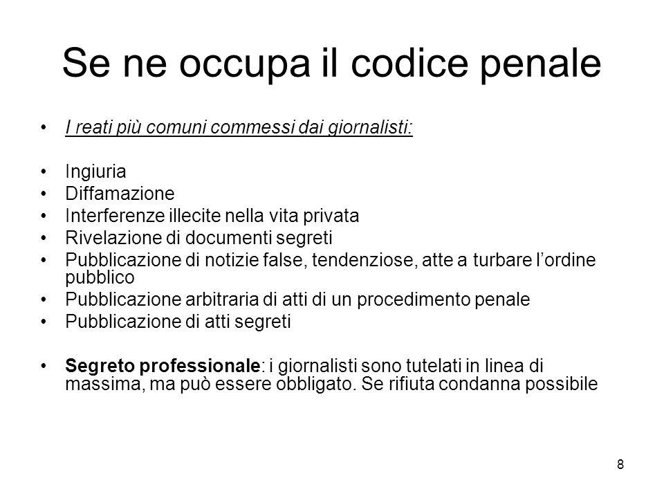 Se ne occupa il codice penale
