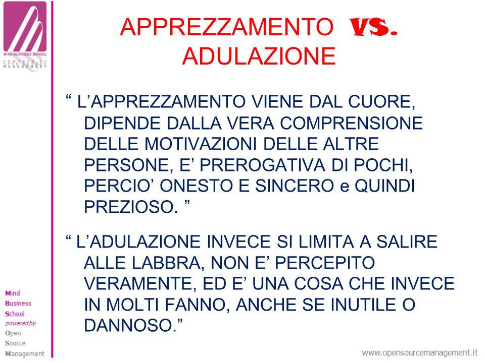APPREZZAMENTO VS. ADULAZIONE