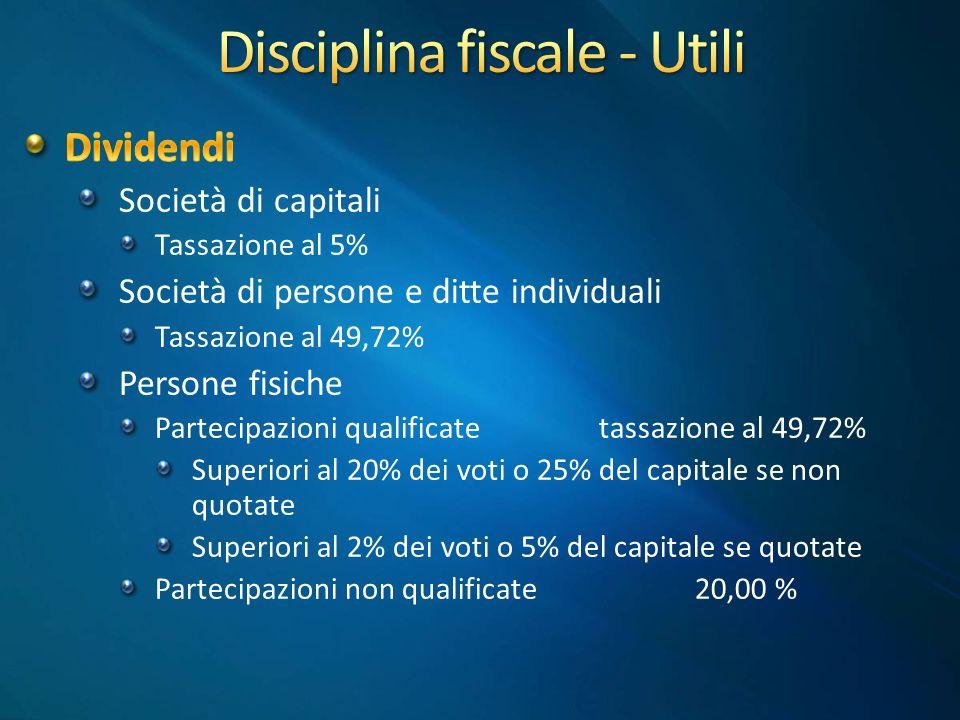Disciplina fiscale - Utili