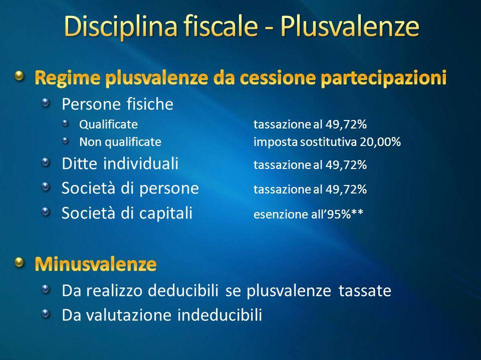 Disciplina fiscale - Plusvalenze