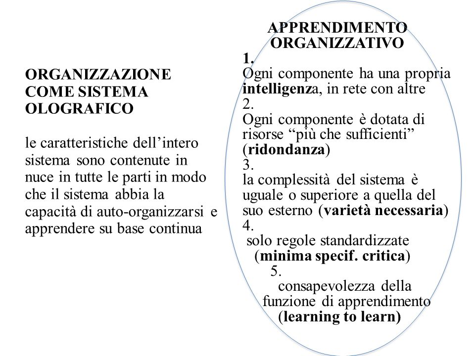 APPRENDIMENTO ORGANIZZATIVO. 1. Ogni componente ha una propria intelligenza, in rete con altre. 2.