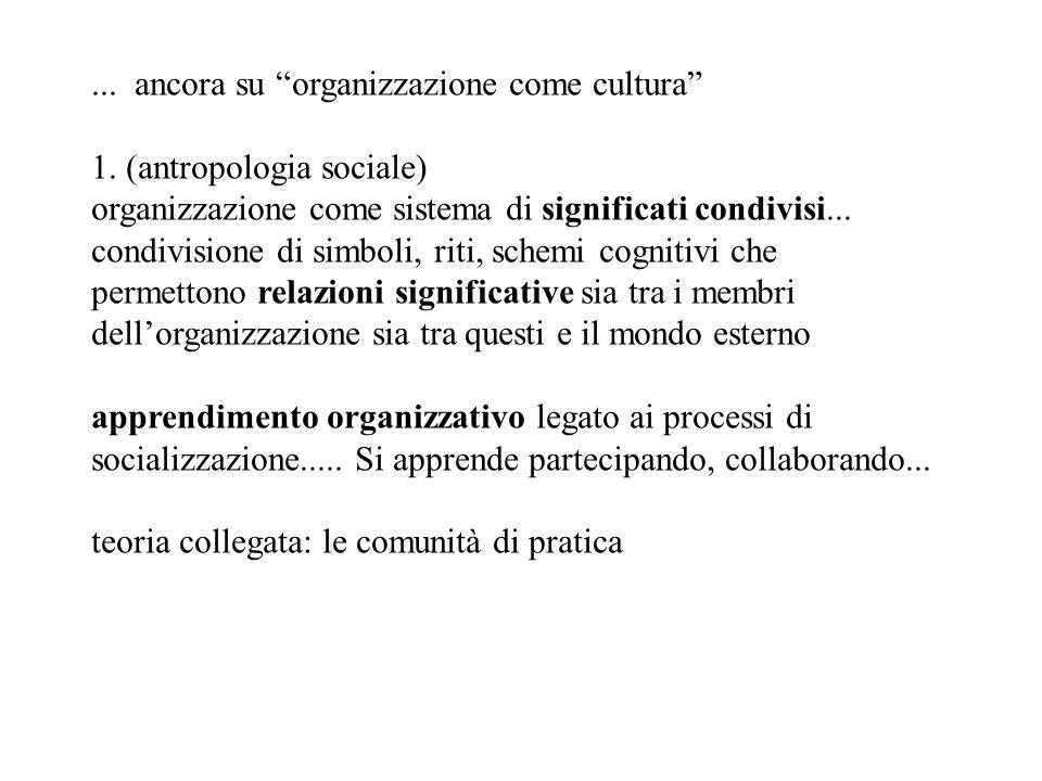 ... ancora su organizzazione come cultura