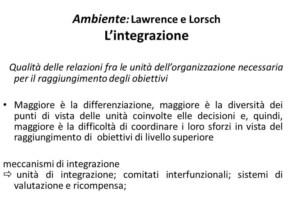 Ambiente: Lawrence e Lorsch L'integrazione