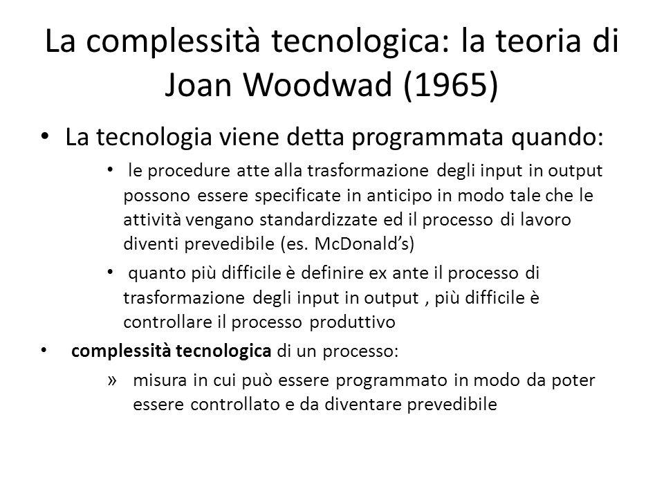 La complessità tecnologica: la teoria di Joan Woodwad (1965)