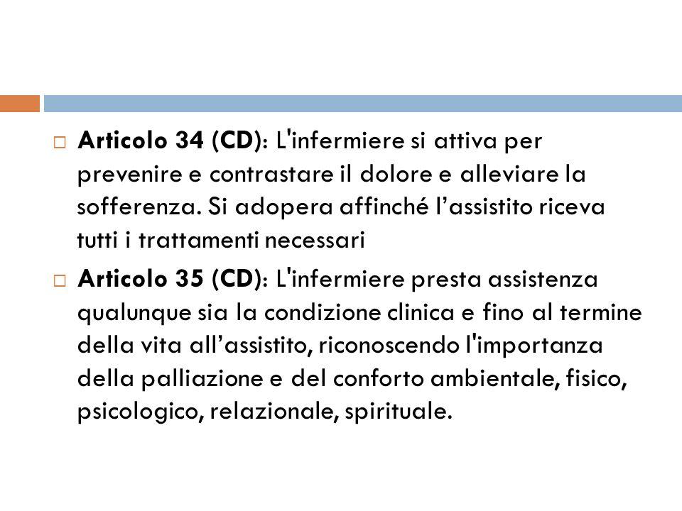 Articolo 34 (CD): L infermiere si attiva per prevenire e contrastare il dolore e alleviare la sofferenza. Si adopera affinché l'assistito riceva tutti i trattamenti necessari