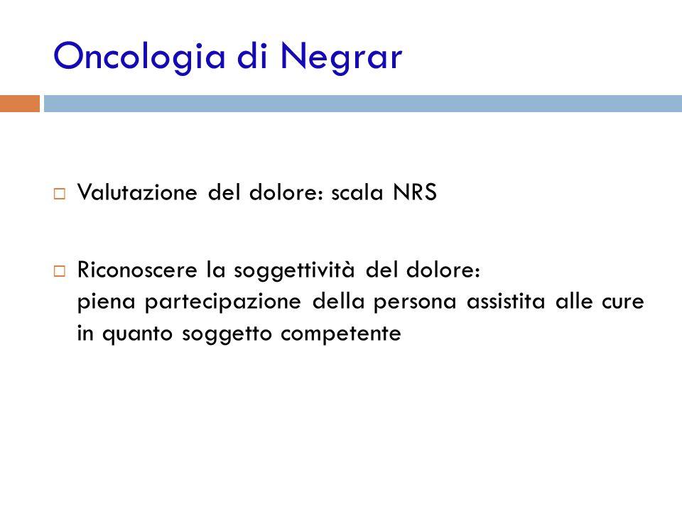 Oncologia di Negrar Valutazione del dolore: scala NRS