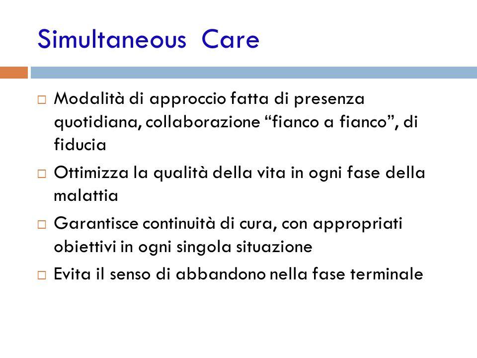 Simultaneous Care Modalità di approccio fatta di presenza quotidiana, collaborazione fianco a fianco , di fiducia.
