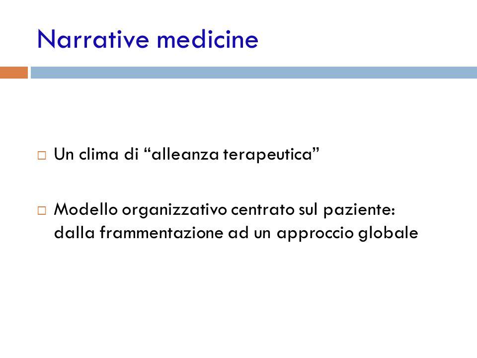 Narrative medicine Un clima di alleanza terapeutica