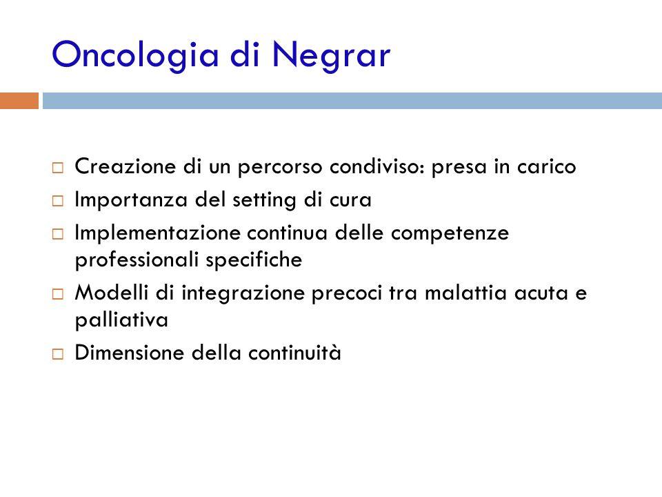 Oncologia di Negrar Creazione di un percorso condiviso: presa in carico. Importanza del setting di cura.