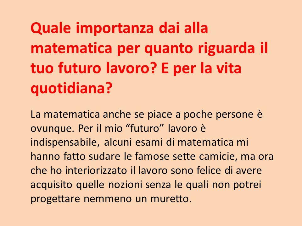Quale importanza dai alla matematica per quanto riguarda il tuo futuro lavoro E per la vita quotidiana