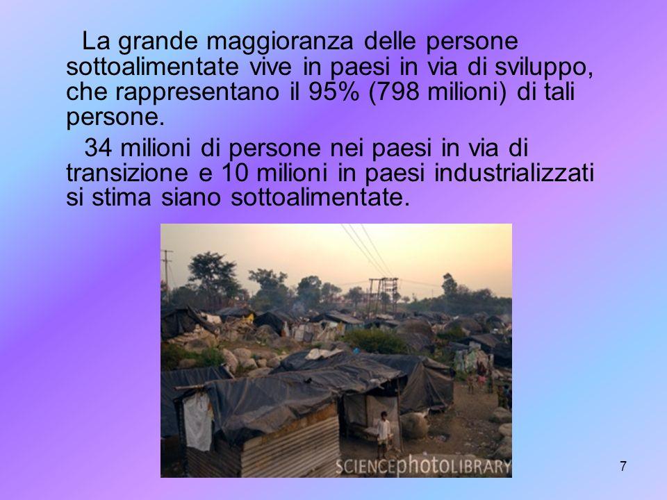 La grande maggioranza delle persone sottoalimentate vive in paesi in via di sviluppo, che rappresentano il 95% (798 milioni) di tali persone.