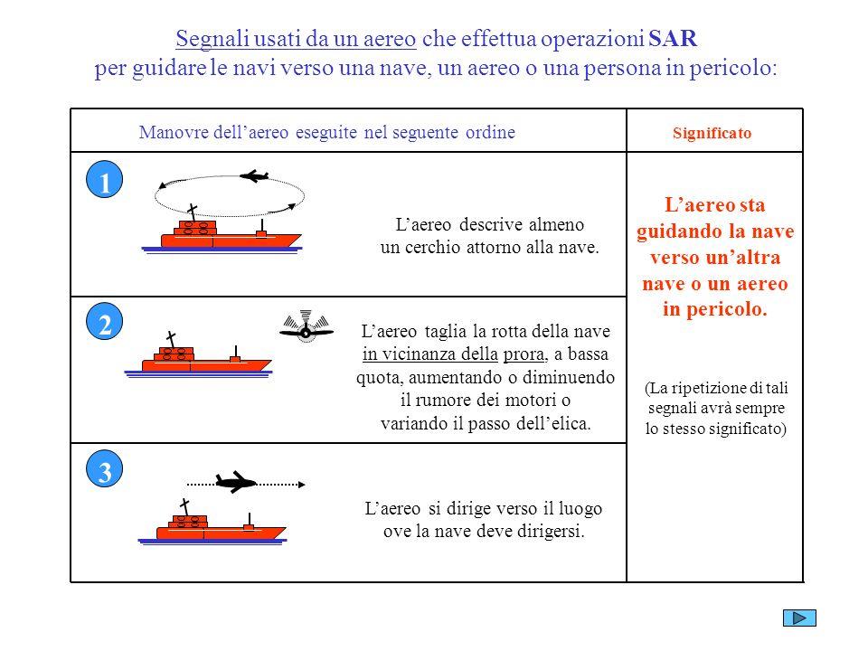 Segnali usati da un aereo che effettua operazioni SAR per guidare le navi verso una nave, un aereo o una persona in pericolo: